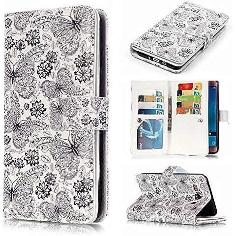 YHUISEN Caso della copertura di vibrazione del supporto della carta di credito del raccoglitore magnete in pelle fiori leopardo piuma disegno dell'unità di elaborazione incorporata 9 fessure per carta e supporto per Samsung Galaxy J5 2016 J510 ( PATTERN : 8 )