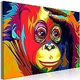 murando Bilder Schimpanse 90x60 cm - Leinwandbild - 1 Teilig - Kunstdruck - Modern - Wandbilder XXL - Wanddekoration - Design - Wand Bild - Abstrakt Bunt g-B-0078-b-a