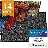 etm Tapis d'entrée série Premium   Tapis Antidérapant Absorbant & Lavable   Paillasson entrée Exterieur & Interieur   Anthracite 60x90cm