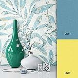 NEWROOM Blumentapete Tapete Blau Blumen Blätter Floral Vliestapete Vlies moderne Design Optik Modern inkl. Tapezier Ratgeber
