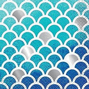 Foil océano azul servilletas de cóctel, diseño de concha, pack de 16