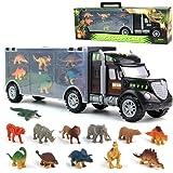 Dinosaurio del Juguete Camión de Transporte Transportador Coches con 12 Figuras de Juego de Dinosaurios de Dinosaurio Plástic