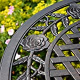 Lazy Susan Furniture - Rose Bistro Set - Bistro Table with 2 matching Chairs - Cast aluminium garden set, Antique Bronze
