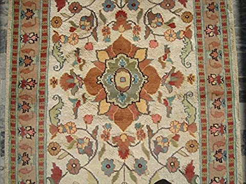 Wow Medallion Flowers Rectangle Rug Hand Knotted Wool Silk Carpet (5 x 3)'