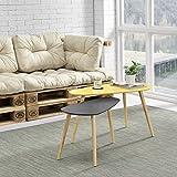 [en.casa]® Set de 2 mesas de centro de alta calidad - mostaza y gris - patas de madera maciza de haya - mesa auxiliar de madera