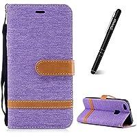 Preisvergleich für Huawei P10 Lite Hülle,Handyhülle Huawei P10 Lite Tasche Flip Case Cover,Slynmax Denim Holster Schutzhülle Ultra Slim PU Leder Handyhülle Wallet Case