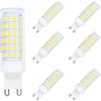 Paquete de 6 G9 LED Bombilla 9W Bombilla Lámpara LED Dimmable 76 SMD 2835LED Blanco Frío