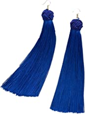 Pipa Bella - Blue Tassel Earrings for Girls in Alloy and Thread Dangle & Drop Fashion Party Wear Jewellery for Women