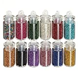 Bluelover 12 color uñas arte Tips caviar perlas bolas manicura decoración