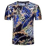 Kette Print Tops Bluse Slim Fit T-Shirt für Den Menschen GreatestPAK,L,Blau Gold