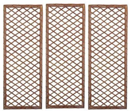 Set di 3 x rettangolare in legno di salice - pannello con cornice (120 cm x 45 cm)