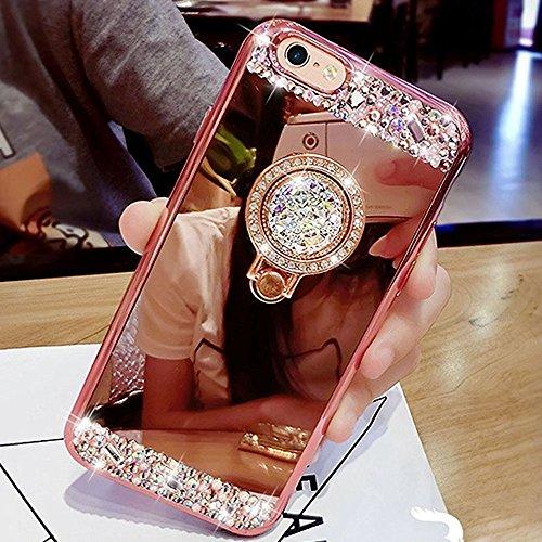HMTECH iPhone SE Hülle,iiPhone 5 5S Hülle Glitzer Spiegel Silikon TPU Schutzhülle Mit Bling Glitzer Strass Diamant Überzug BärStand Holder für iPhone SE 5 5S,Rose Gold Mirror with Diamond Ring Stand (Iphone 5s Case Gold Diamant)