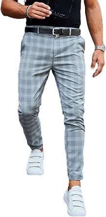 Pantaloni Casual da Uomo con Stampa Scozzese Pantaloni alla Caviglia alla Moda Sottili e Comodi con Bottoni e Chiusura a Cerniera