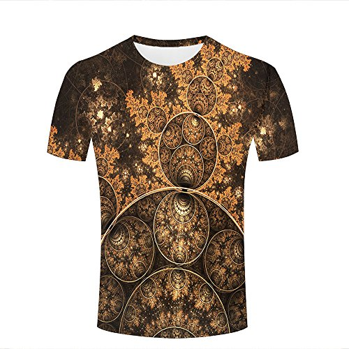 Herren 3D T-Shirts Funny Printed Round Circles Vintage Novelty Unisex Couple Short Sleeve Tee Shirt L (Short Tee Sleeve Circle)