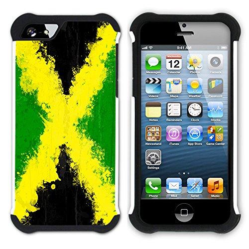 Graphic4You Jamaika Jamaikanisch Flagge Hart + Weiche Kratzfeste Hülle Case Schale Tasche Schutzhülle für Apple iPhone SE / 5 / 5S Design #1