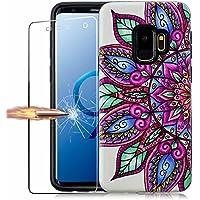 Funda Samsung Galaxy S9 y Protector de Pantalla de Vidrio Templado, MISSDU Carcasas para Samsung Galaxy S9 Anti-Arañazos Duro Plástico PC Cubierta Funda, Media Flor