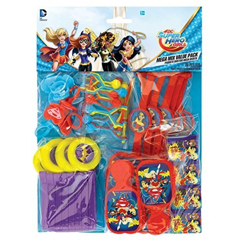 DC Super Hero Girls Wonder Woman Supergirl Batgirl Party Value Favour Pack - 48 themed items by DC Superhero Girls Heroes Wonder Girl