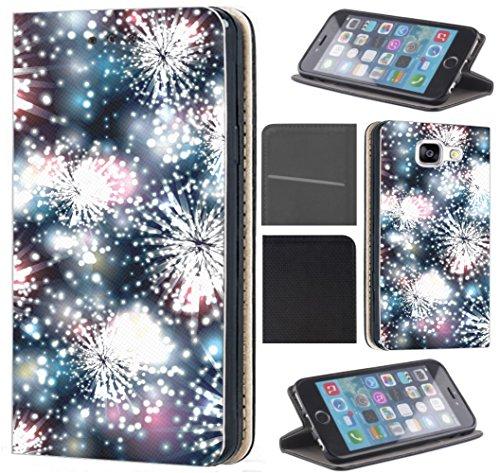 CoverFix Premium Hülle für Samsung Galaxy A7 2018 Flip Cover Schutzhülle Kunstleder Flip Case Motiv (724 Feuerwerk bunt)