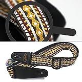 Stile retrò per maglieria chitarra basso cinturino in pelle regolabile finisce con 3 picconi e un pulsante