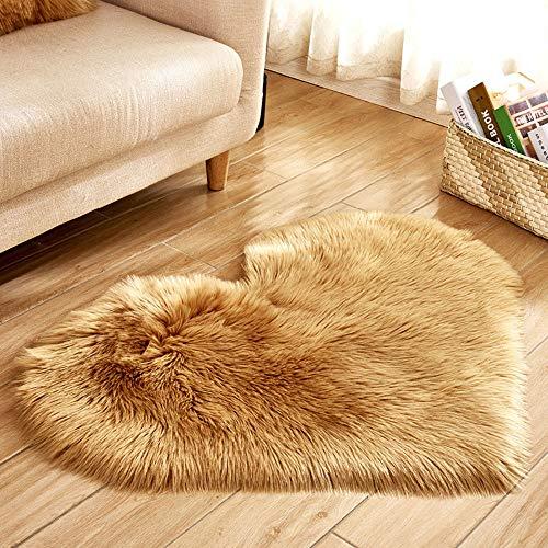 TAOtTAO Wool Imitation Sheepskin Rugs Faux Fur Non Slip Bedroom Shaggy Carpet Mats (A 40x50cm)