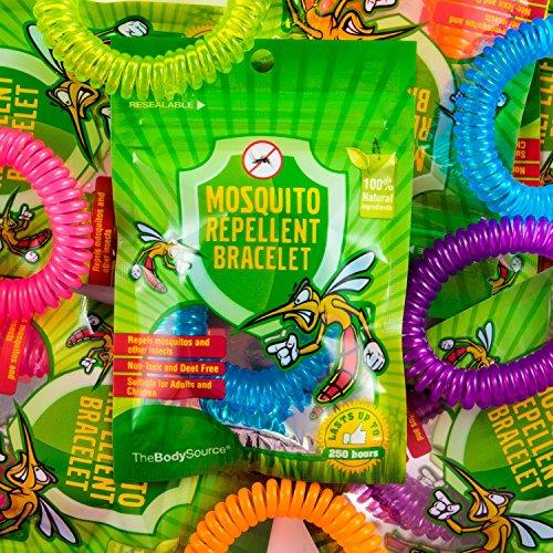 Imagen de the body source pulseras repelentes de mosquitos 10 piezas no contiene deet y libres de sustancias tóxicas o nocivas, con citronela e impermeables, para adultos y niños alternativa
