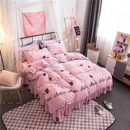 Preisvergleich Produktbild lkklily-4Stück Bett Rock mit dicken Warm Vier Stück Bett Rock, Moon Baby, 1.5-1.8
