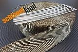 10m Basalt Hitzeschutzband 50mm 1400°C + 10 Kabelbinder SCHLAUCHLAND*** Auspuffband Thermoband Krümmerband Heat Wrap Basaltfaser Isolierband Hitzeschutz