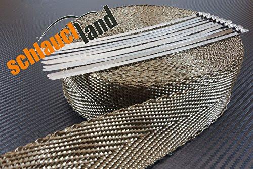 20m Basalt Hitzeschutzband 50mm 1400°C + 10 Kabelbinder SCHLAUCHLAND*** Auspuffband Thermoband Krümmerband Heat Wrap Basaltfaser Isolierband Hitzeschutz