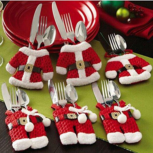 Takestop® set 6 pezzi portaposate porta posate forma babbo natale maglia pantaloni misti natalizie con campanelli segnaposto babbo natale decoro addobbo decorazioni