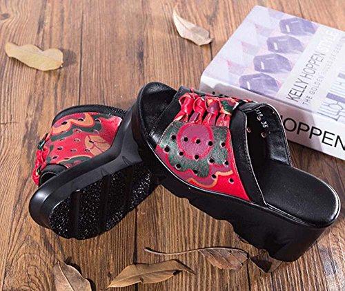 Cool pantofole Mules 6 centimetri Tacco a cuneo vera pelle sandali Donne Cavo Peep Toe Bowknot Fiore Pizzo Scarpe casual Scarpette Scarpe da mamma Dimensioni Eu 34-40 5518 black - red