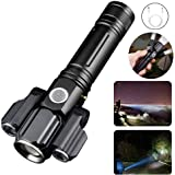 Gluckluz Flashlight LED Bright Tactical Flash Light with 3-Head Torch for Cycling Hiking Riding Camping Outdoor (USB Recharge