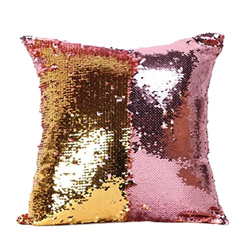 Cuscino,WINWINTOM Double Color Glitter Sequins Pillow Case Home Decor Cushion Covers F