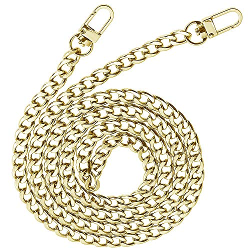 HUAESIN Trageriemen Kette Schulterriemen Gold Schultergurt Tasche Kettenriemen Taschenkette Metallkette Schulter Riemen für Handtasche Damen Umhängetasche 120cm -