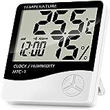 NIAGUOJI - Termómetro digital LCD para interiores, medidor preciso de temperatura de la habitación, monitor de humedad con re