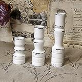 3er Set Vintage Holz-Kerzenhalter Kerzenständer Kerzenleuchter handmade Shabby hell