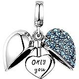 """Lovan - Abalorio de plata de ley 925 con diseño de corazón con texto en inglés""""I Love You"""""""