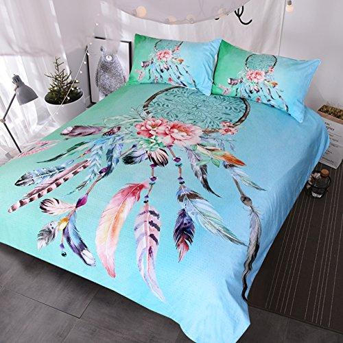blessliving Big Dreamcatcher Farben Betten, 3Stück Traumfänger Bettbezug Set, Boho Doona Deckel Hippie Tagesdecke Überwurf, türkis, Queen (Queen-bett-sets, Türkis)