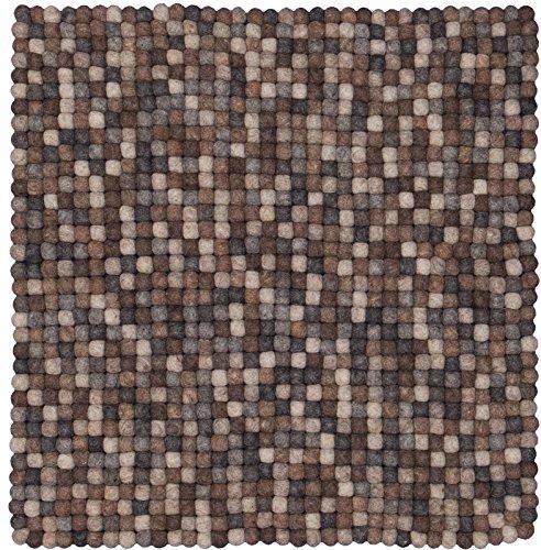 myfelt Néla Filzkugelteppich, quadratisch, Schurwolle, grau/beige/braun, 50 x 50 cm