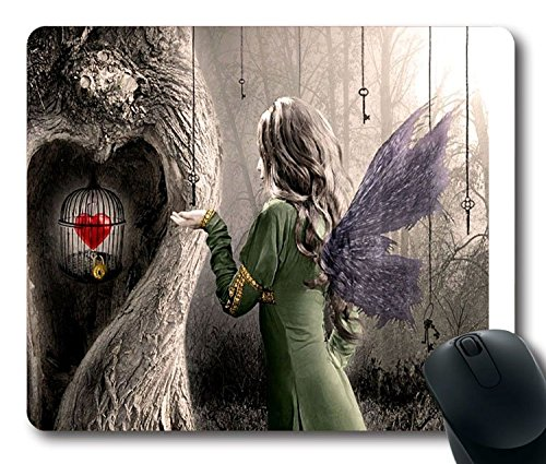 Artistic Love Woman Fairy Cage Heart Mouse Pad Größe: 9 inch(220mm) X...