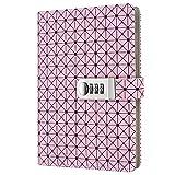 Journal Ligné Carnet secret en PU Cuir style,Journal bloc-notes avec serrure à combinaison TPN094 rose