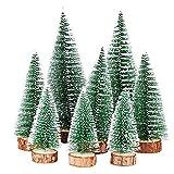 FLOFIA 8 TLG. 3 Größe Mini Weihnachtsbaum Künstlich Miniatur Tannenbaum Grün Mini Christbaum Tree Klein Weihnachtsdeko Figuren 10/15 / 20 cm