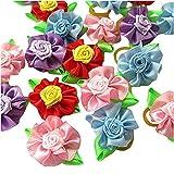 Haarschleifen für Hunde, 12 Stück gemischt, zweifarbiges Blumen-Design, ideal für die Fellpflege