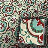 Zementfliesen Radia grün rot cremeweiß (Bestelleinheit: Karton mit 10 Fliesen)