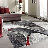 UN AMOUR DE TAPIS - Tapis moderne 1054 - Grand tapis salon madila - rouge, gris, noir - 200 x 290 cm
