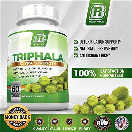 BRI Nutrition Triphala – 1000mg Veggie Himalaya Triphala Pure Extract Plus – 30 Day Supply – 60ct Veggie Capsules