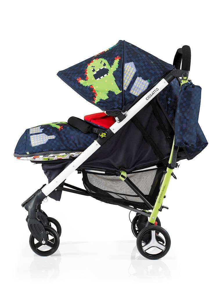 Cosatto Yo 2 Stroller, Suitable from Birth, Monster Arcade Cosatto Suitable from birth stroller with 4 years guarantee Extra wide seat, with multiple recline positions and adjustable leg rest for added comport Handy compact umbrella fold with auto lock, lightweight aluminium chassis and handy carry handle 3