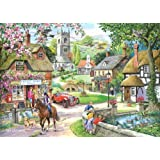 1000 Piece Jigsaw Puzzle. Feeding The Ducks In Village Pond