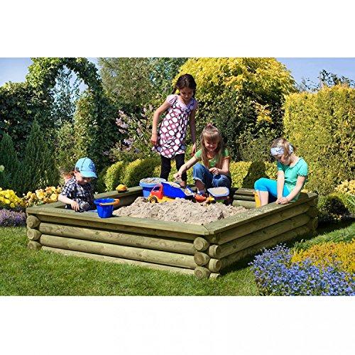 Preisvergleich Produktbild Sandkasten 180x180 cm aus Rundholz Ø 10cm - Premiumqualität von Gartenpirat®