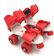 spincart Roller Skates for Kids, Quad Roller Skates, 4 Wheel Adjustable Skates, Adjustable Inline Skating Shoes, Age Group 6-12 Years (Red)