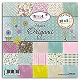 Toga pog0051001Fiori–Set di 100Fogli Origami Carta Multicolore 15x 15x 1cm